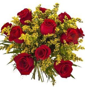 Buchet de trandafiri si solidago (Mix romantic)