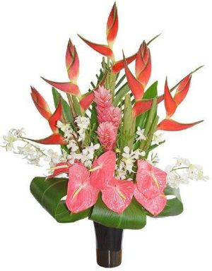 Heliconia, anthurium si ginger